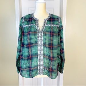 J. Crew Red & Green Plaid Embroidered Blouse Sz 4